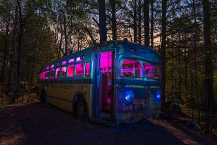 Light painted Oak Ridge School Bus