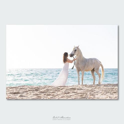 אישה וסוס על חוף הים