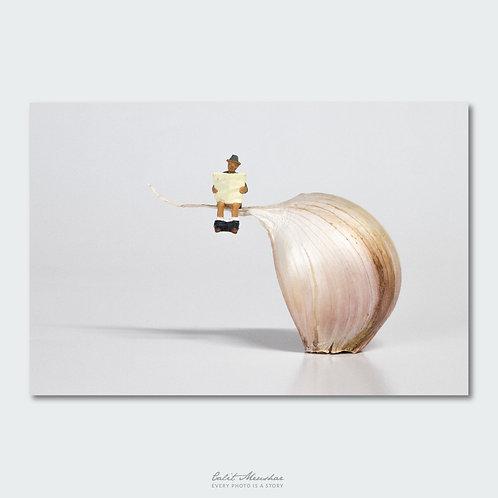 דמות יושבת על שן שום, צילום מניאטורה מתוך הסדרה קטן בעולם גדול