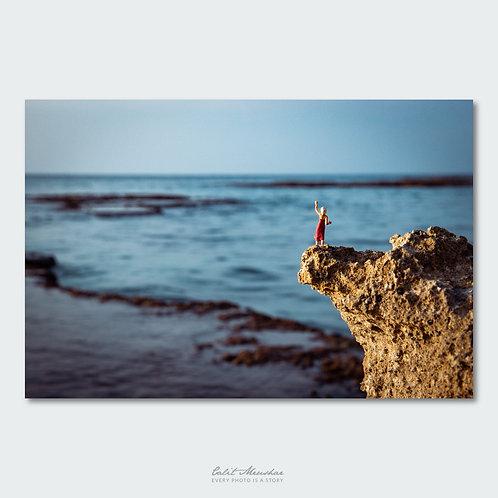 דמות מינאטורית על סלע מול הים