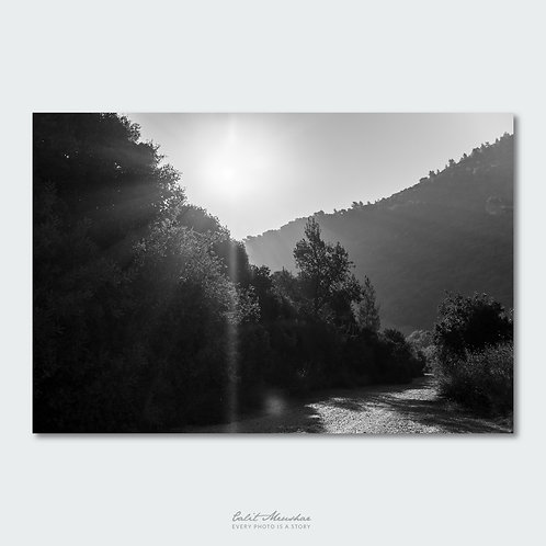 זריחה בהרי ירושלים, צילום שחור לבן