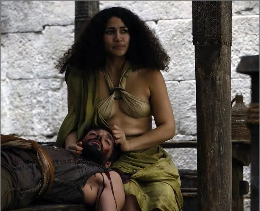 Still of Meena Rayann as Vala in seasons 5 and 6 of Game of Thrones