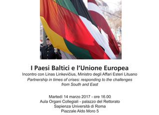 I Paesi Baltici e l'Unione Europea. Incontro con LINAS LINKEVIĆIUS, Ministro degli Affari Esteri Li