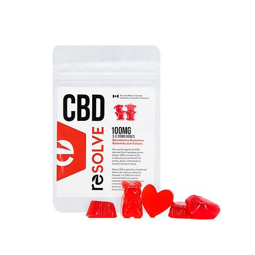 Full Spectrum Strawberry Gummies 100mg - resolveCBD