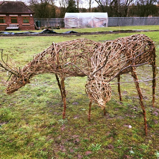 Willow reindeer sculpture