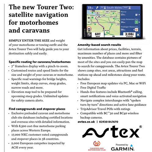 Avtex tourer 2 sat nav  with no dash cam