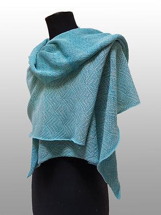 Etole coton pima turquoise chiné