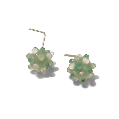 Boucles d'oreilles droites & courtes Virus Vert