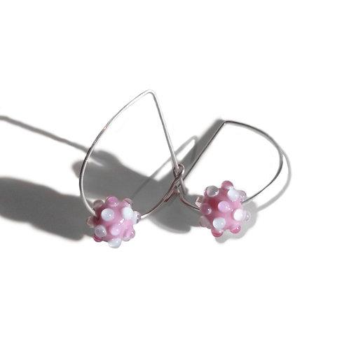 Boucles d'oreilles Créoles Virus Rose
