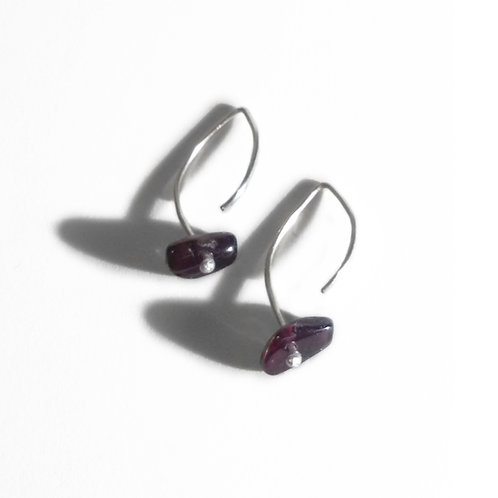 Boucles d'oreilles argent 925 & Grenat