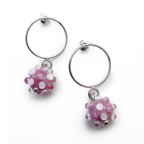 Boucles d'oreilles anneaux Virus Rose