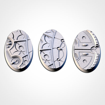 74mm by 43mm oval Bases 3 pack Magic Temples design