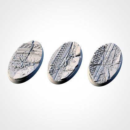74mm by 43mm oval Bases 3 pack Ancestral Ruins design