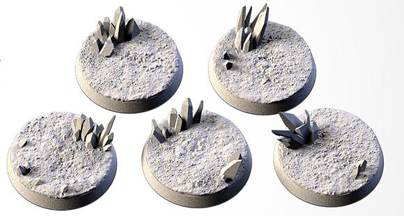 32mm bases 5 pack CRYSTAL XENOS design