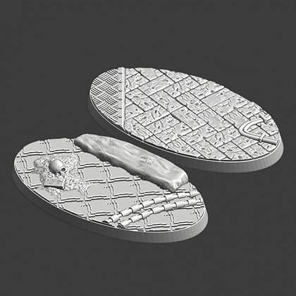 75mm by 42mm oval Bases 2 pack medieval design
