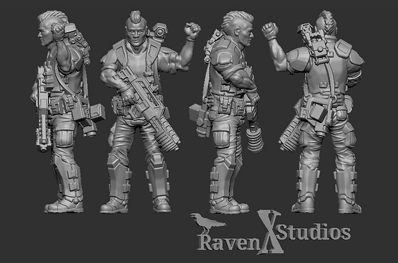 Aliens Colonial Marine lieutenant From RavenX Studios