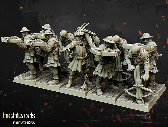 Crossbow men unit of 10 with command by Highlands Miniatures