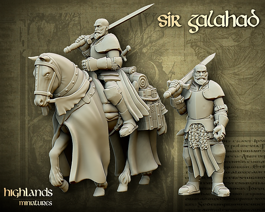 sir Galahad riding with horse and sword from Highlands Miniatures
