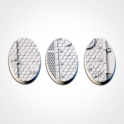 74mm by 43mm oval Bases 3 pack City Scifi design