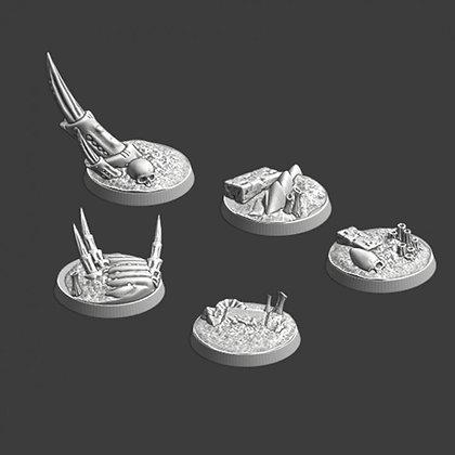 25 mm Bases 5 pack Alien world design