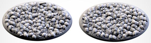 89mm by 52mm oval Bases 2 pack Death Skulls design