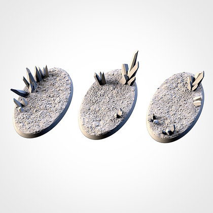 74mm by 43mm oval Bases 3 pack CRYSTAL XENOS design