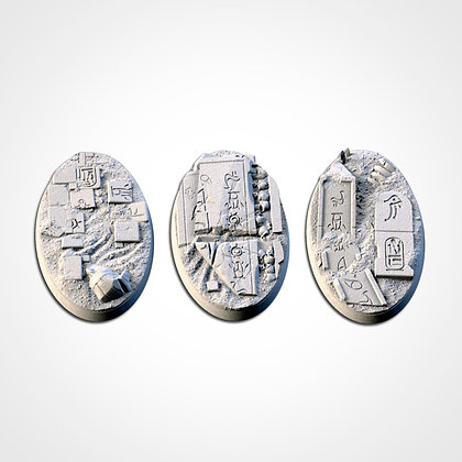 74mm by 43mm oval Bases 3 pack Egyptians design
