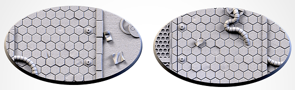 89mm by 52mm oval Bases 2 pack City Scifi design