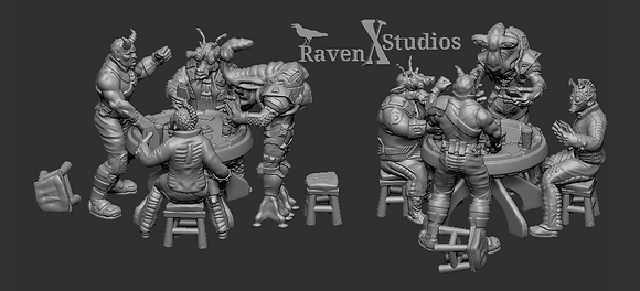 Sabacc table with Players from RavenX Studios