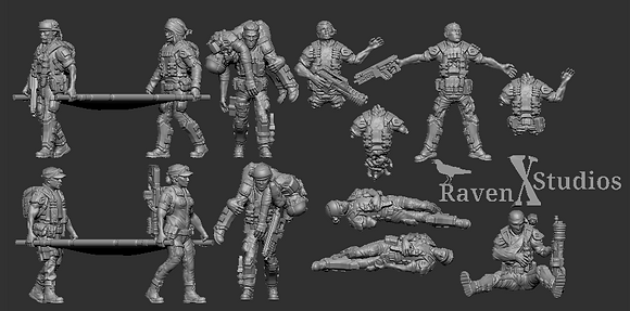 Wounded and Dead Ground Marines From RavenX Studios