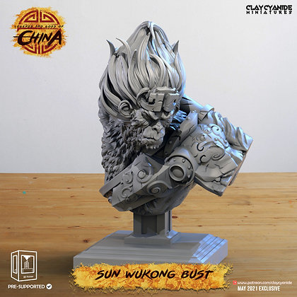 sun wukong bust from clay cyanide