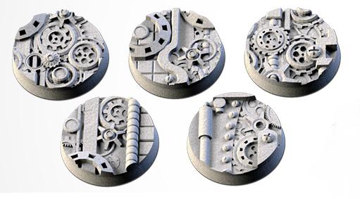 25 mm Bases 5 pack Steam Punk design