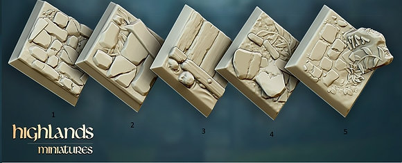 Square 25 mm or 20 mm bases 10 pack by highlands miniatures