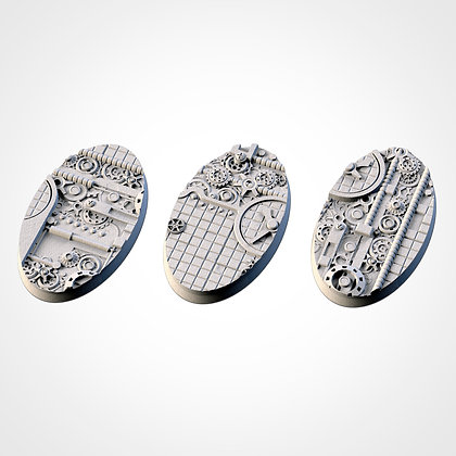 74mm by 43mm oval Bases 3 pack Steam Punk design