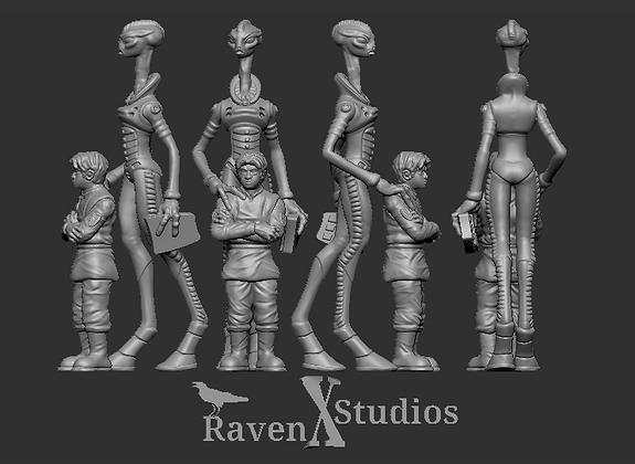 Kaminos scientist Female With Cadet From RavenX Studios