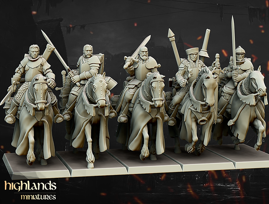 Questing Knights with command from Highlands Miniatures