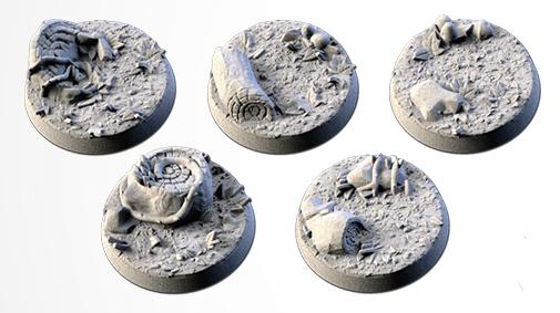 25 mm Bases 5 pack Forest design