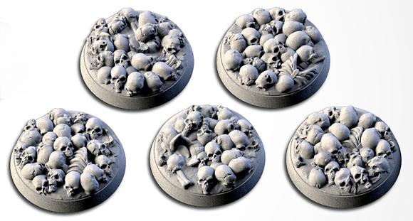 32mm bases 5 pack Death Skulls design
