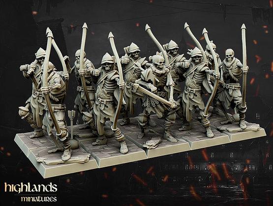 skeleton archer unit of 10 models by Highlands miniatures