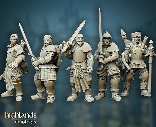 Questing knights on foot with command 10 models  by Highlands Miniatures