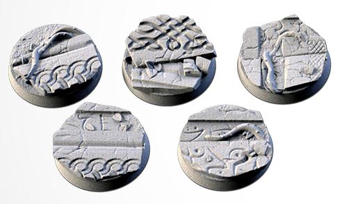 25 mm Bases 5 pack Ancestral Ruins design