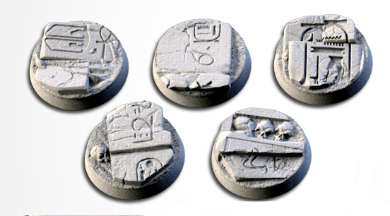 25 mm Bases 5 pack Egyptians design