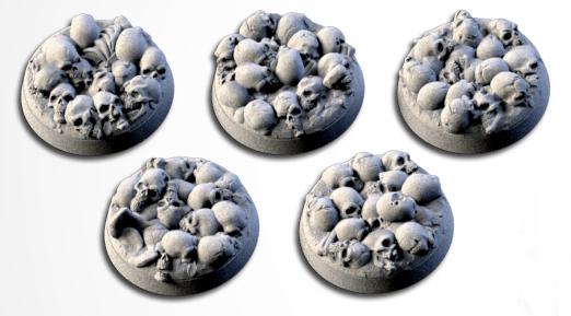 25 mm Bases 5 pack Death Skulls design