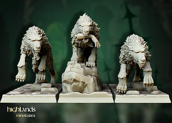 Direwolves from Highlands miniatures