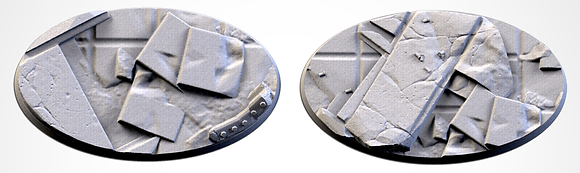 89mm by 52mm oval Bases 2 pack City Ruins design