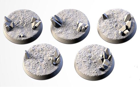 25 mm Bases 5 pack CRYSTAL XENOS design