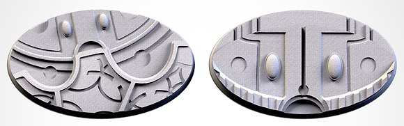 89mm by 52mm oval Bases 2 pack Magic Temples design