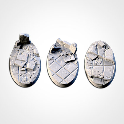 74mm by 43mm oval Bases 3 pack City Ruins design