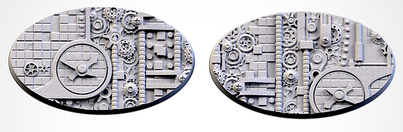 89mm by 52mm oval Bases 2 pack Steam Punk design