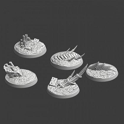 40mm Bases 5 pack Alien world design
